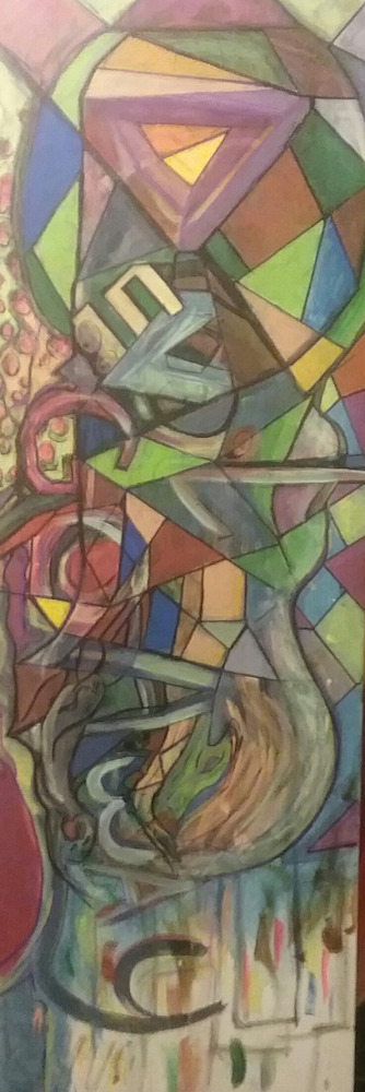 "Title:Devil go Away Medium:	Acrylic on canvas Size:	36""x12"""