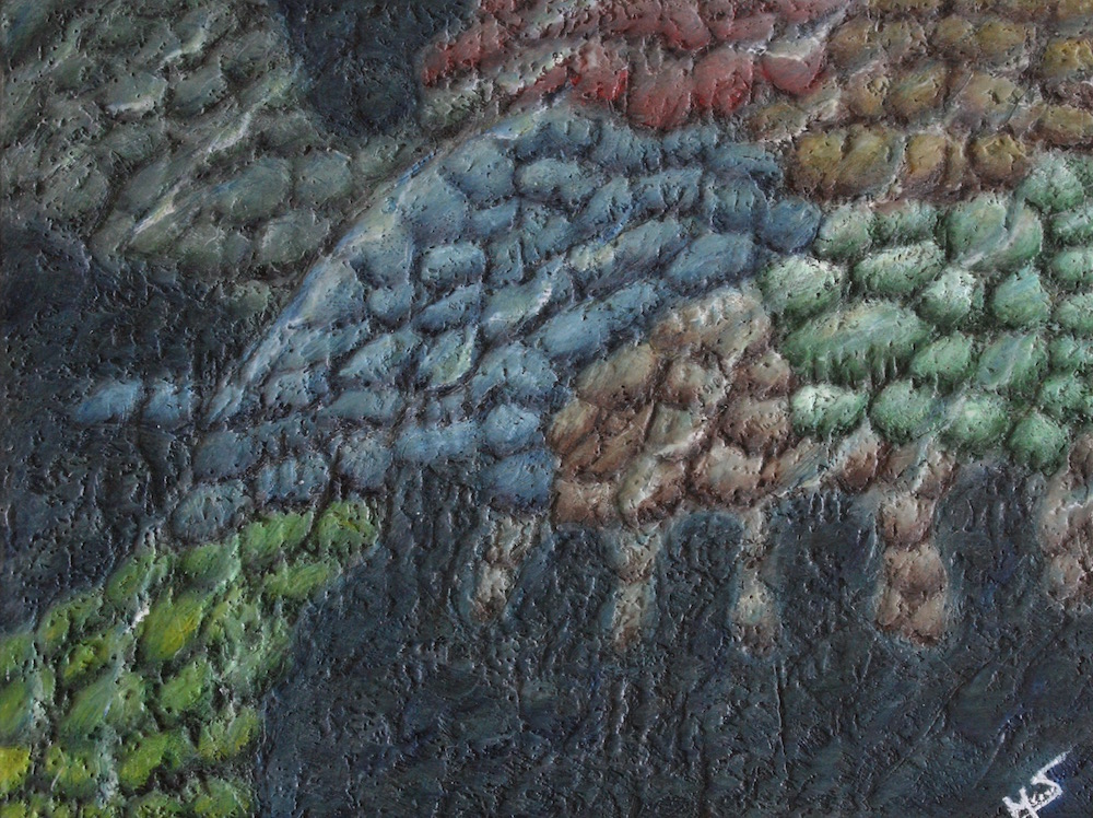 Title: Shadows Medium: WaterColors and BeesWax on Wood Size: 24x18x1.0