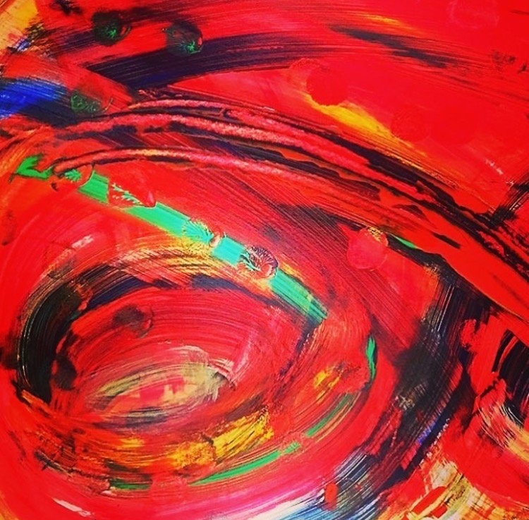 Title:Red Whirlpool Medium:Watercolour & photography Size:A4