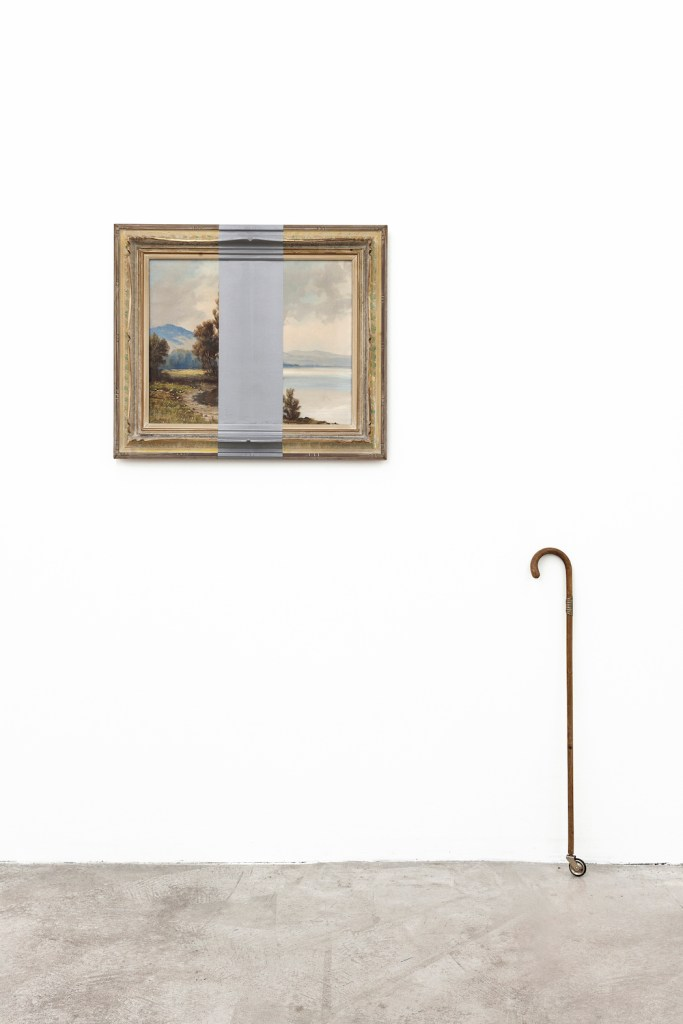 Title:Rock'n'Roll Medium:micaceous iron colour on framed canvas (overpainting, artist: H. Meier), walking stick with brass fitting, rubber wheel Size:190 x 170 x 15 cm