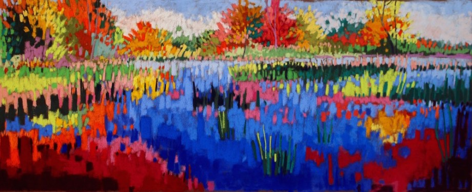 "Title:Jeweled Pond Medium:	pastel Size:	12"" x 30"""