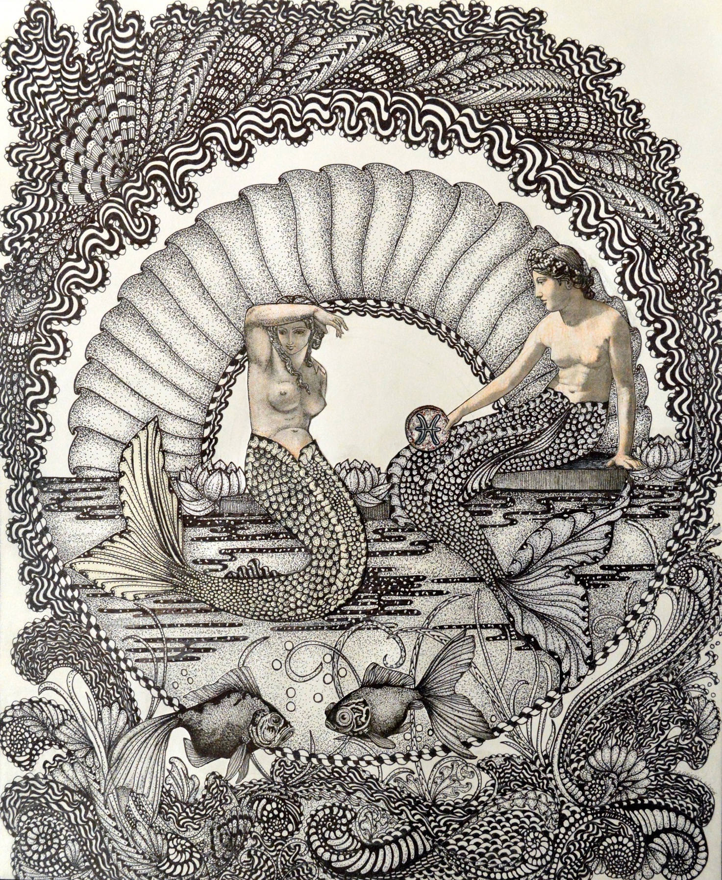 """Title: Pisces Medium: Pen and Ink Size: 14""""x17"""""""