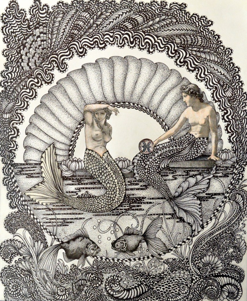 """Title:Pisces Medium:Pen and Ink Size:14""""x17"""""""