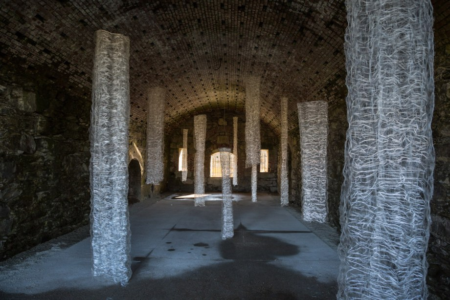 Title:12 Memoirs Medium:	Monofilament, Reflective yarn Size:	Site-specific Installation at Fort Adams, New Port, RI