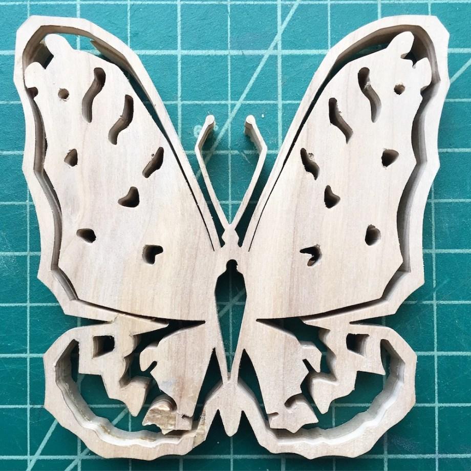 "Title:Day 280 Regal Flitillary Butterfly Medium:Wood Size:4""x4"""
