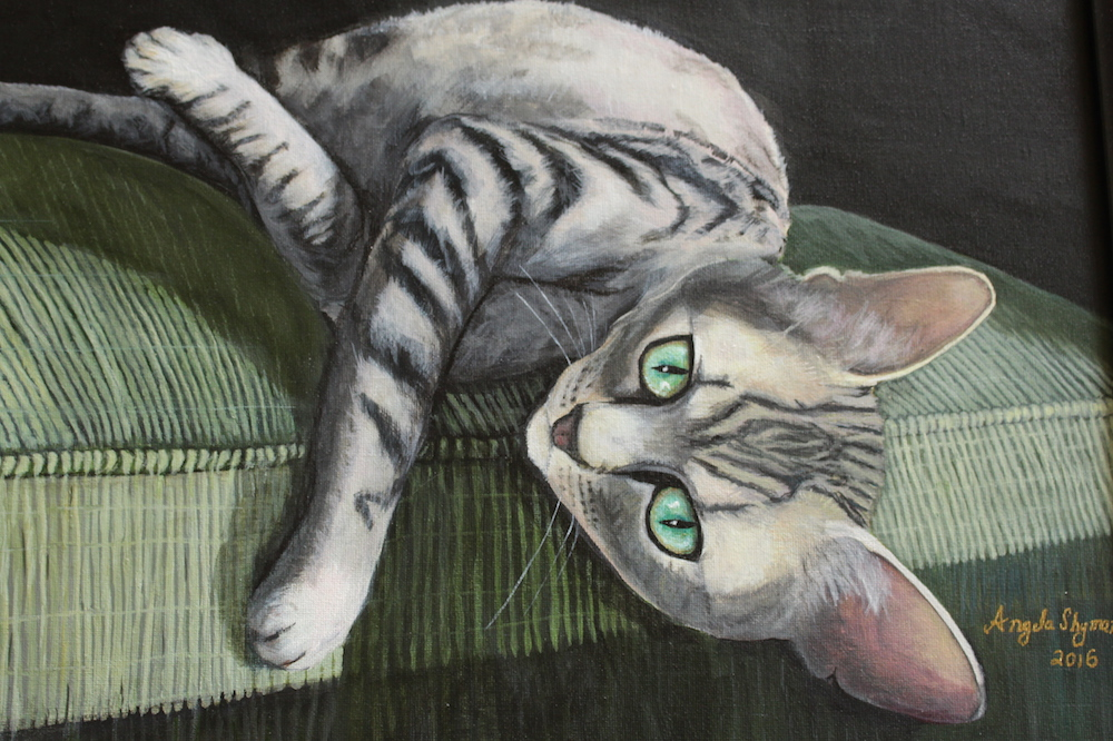 "Title: Cat laying in a sunbeam Medium: Acrylic Size: 20"" x 16"""
