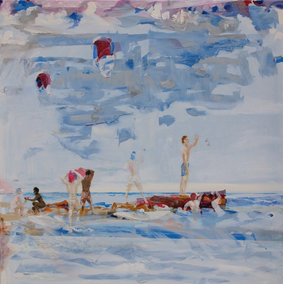 Title:On the jetty Medium: Oil Size: 90 x 90 x 2 cm