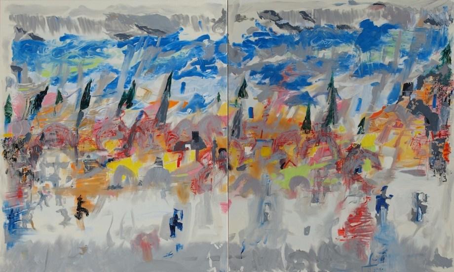 Title:Walking through Thüringer Wood Medium: Oil Size: 120 x 200 x 2 cm