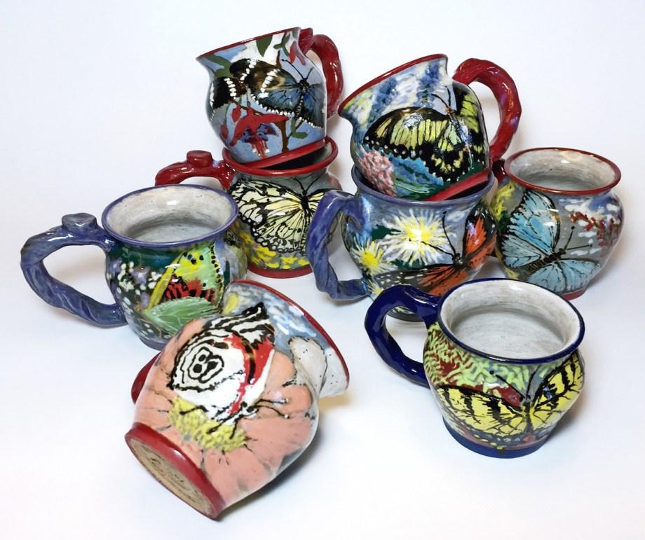 "Title:Butterfly Teacups Medium:Ceramics Size:3"" x 4"" cups"