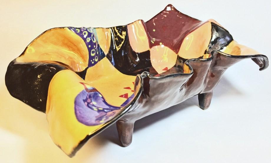 "Title:Rectangular Tray Dreams In Color Medium:Ceramics Size:11"" L x 8"" W x 5"" H"
