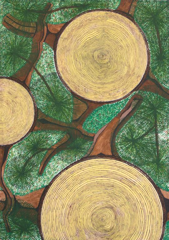Title:Logs Medium: Acrylic on plywood Size: 12 x 18