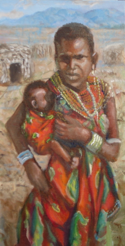 Title:Masaii mother and child(Tanzania) Medium:	oil Size:	20x24