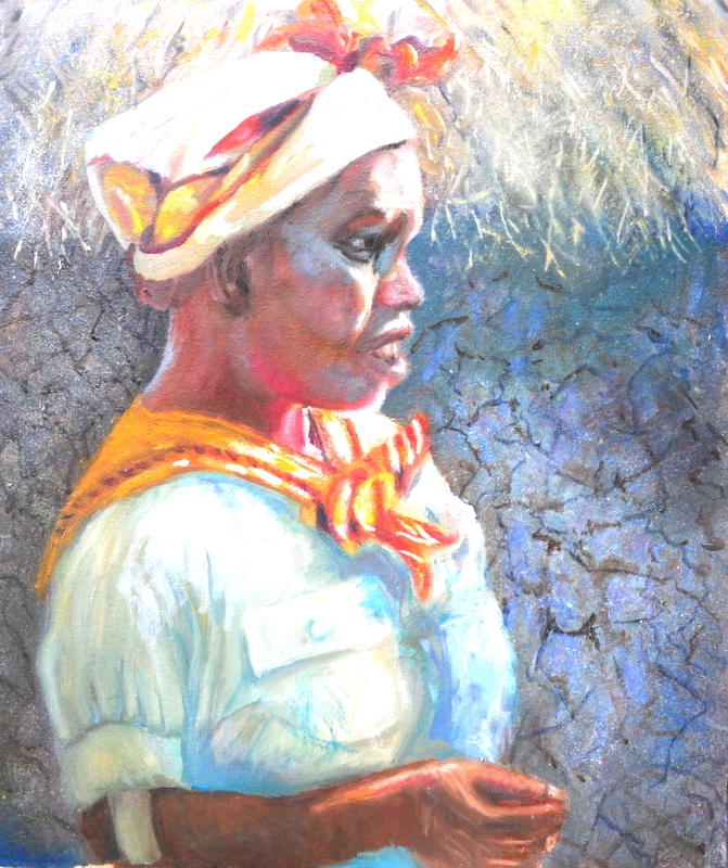 Title:Village Miss (Kenya) Medium:OIL Size:20x24