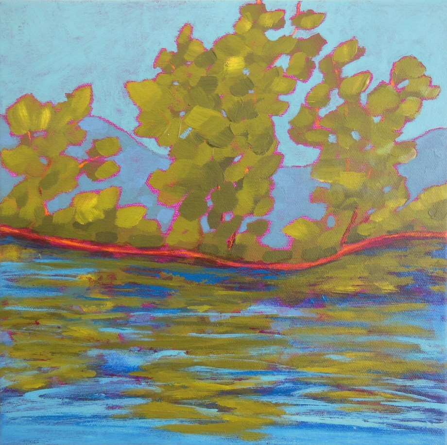 "Title:Green Ripples Medium:	acrylic on canvas Size:	10"" x 10"""