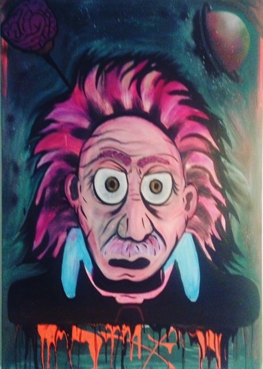 "Title:The Brains Medium:Acrylic, spray, neons Size:32"" by 40"""