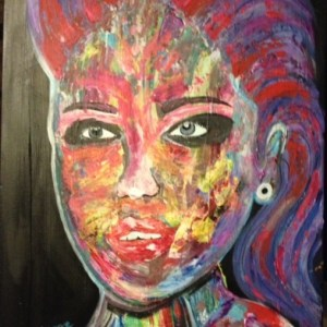 "Title: Funky Lady Medium: Acrylic, palet knife Size: 19.5"" by 40"""