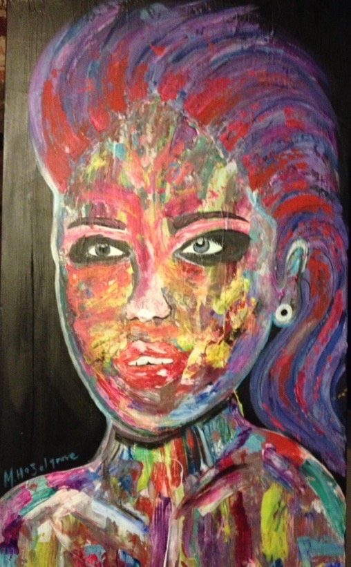 "Title:Funky Lady Medium:Acrylic, palet knife Size:19.5"" by 40"""