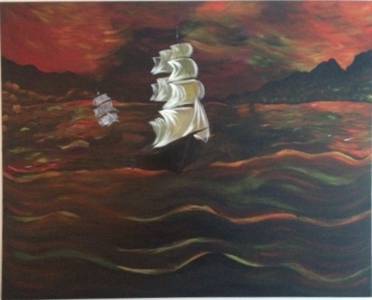 "Title:Sail Away Medium:	Acrylic Size:	48"" by 36"""