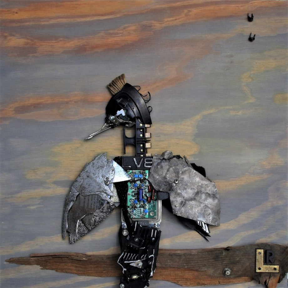 "Title:""Elevate"" Arthello the Armature for the Junkyard Birds Medium: Mixed Media and Found Objects Size: 24"" x 24"""