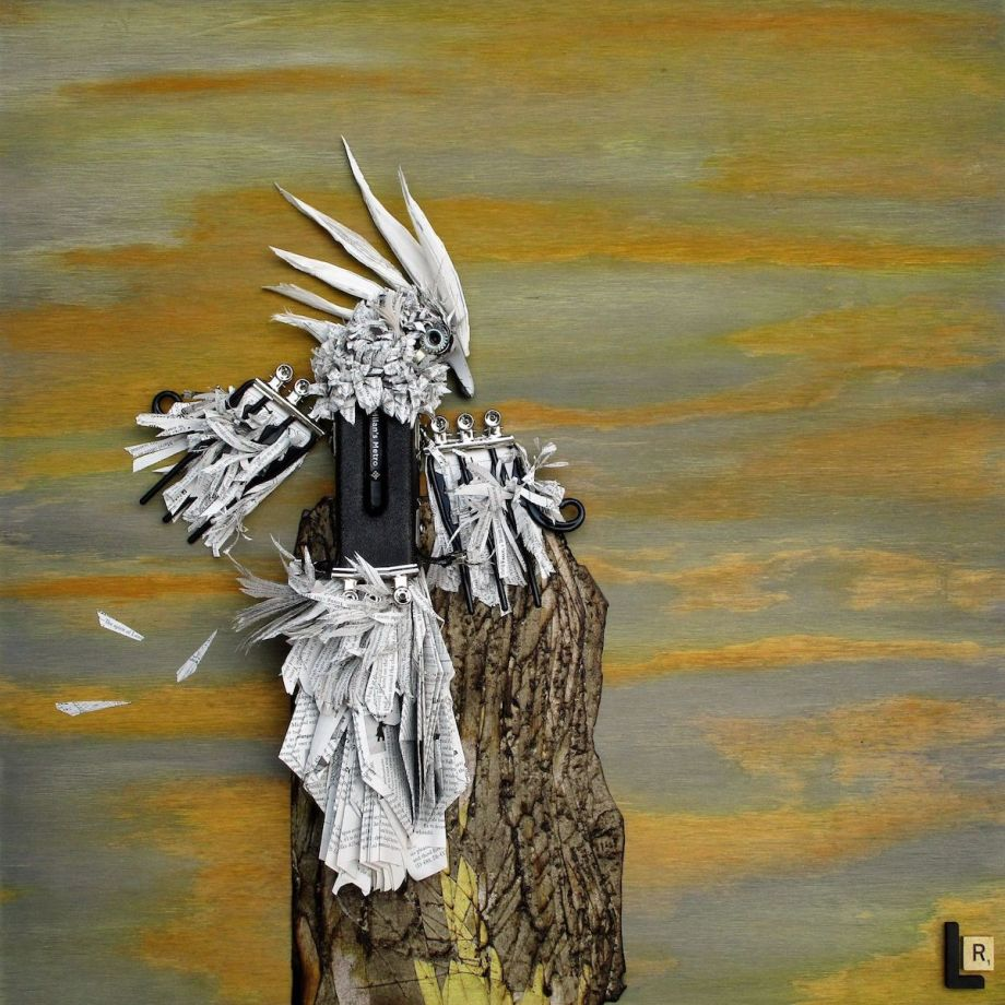 """Title: """"Fly Like Paper In the Wind"""", Andiamo the Milanese Cockatoo for the Junkyard Birds Medium: Mixed Media and Found Objects Size: 24"""" x 24"""""""