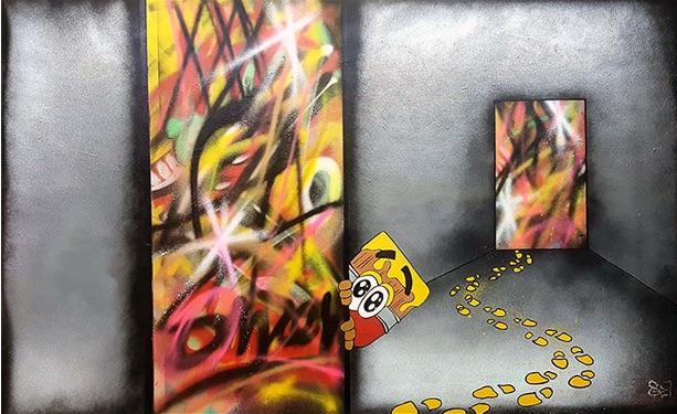 Title:Malicious Mischief Medium:Wood Panel, Resin, Acrylic Size:29 3/4H x 48W