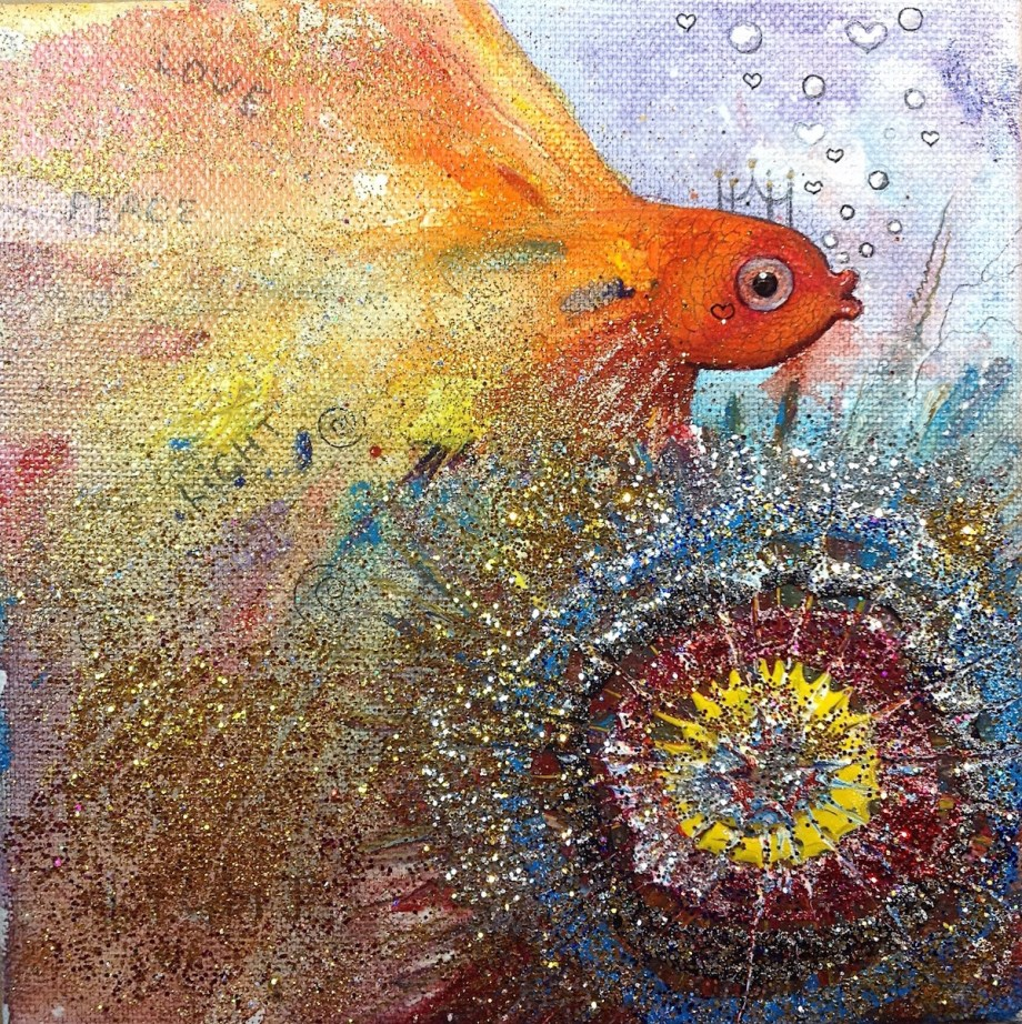 Title:Gold fish Medium:	Acrylic,mixed, glitter, Size:	6X6