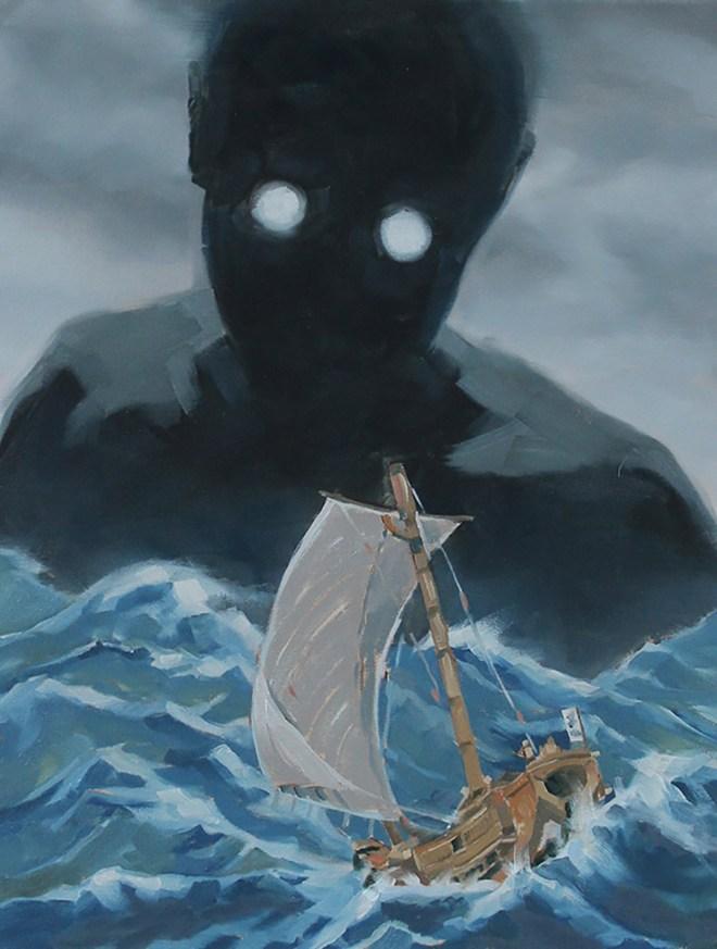 "Title:Umibozu Medium:Oil on Canvas Size:14""x18"""