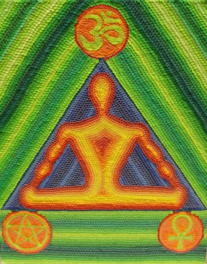 Title: Meditator Medium: Colored Hole Punch Dots Size: 18x24 inches