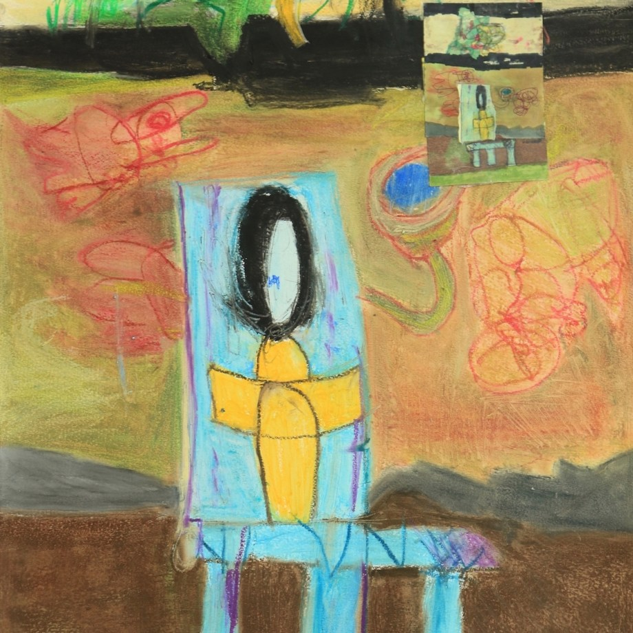 """Title: minute and far away... Medium: oil on paper, collage Size: 30""""x22"""""""