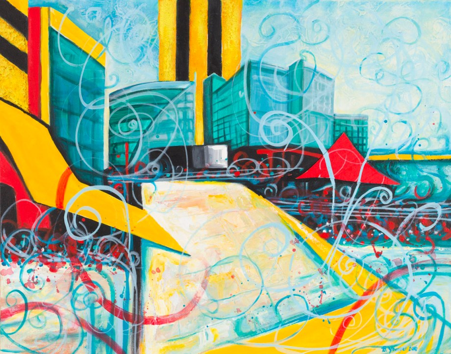 Title:Waterfront Songs Meet the Cityscape Medium:	Acrylic and mixed media Size:	18 x 24