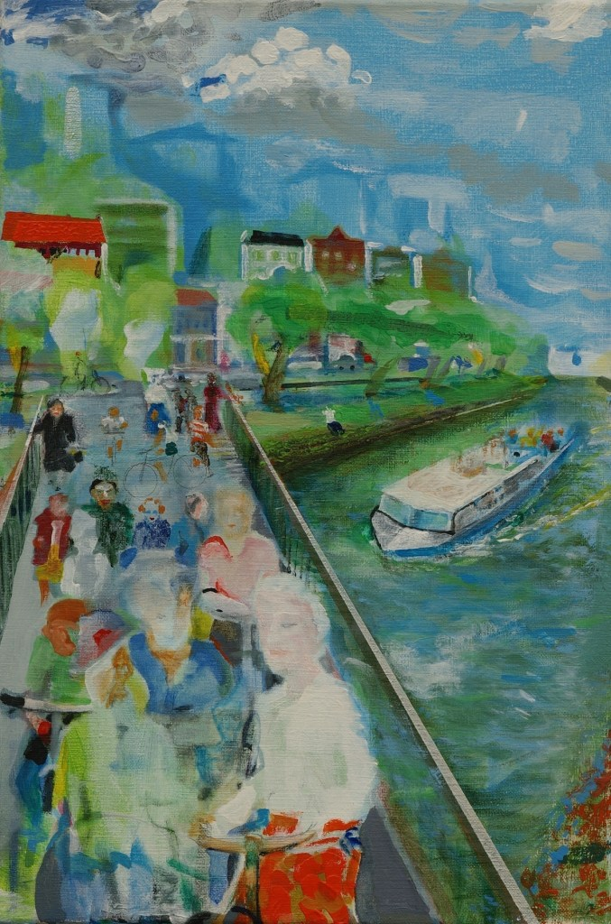 Title:In Berlin, on the bridge Medium:	Oil and pencil on canvas Size:	60 x 40 cm