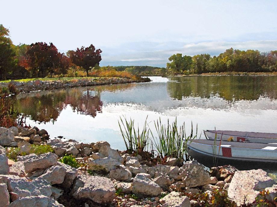 "Title Canoes On Monee Lake Medium Photography Size 24"" x 18"""