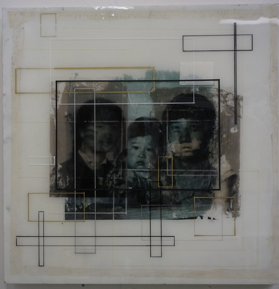 Title FamilyTree #1 Medium Photo collage on panel, sealed with resin Size 24 x 24 inches