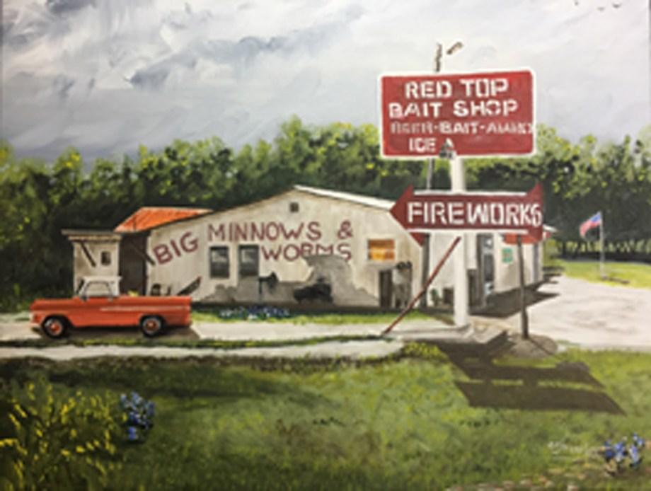 Title Red Top Bait Shop Medium Oil Size 16x20