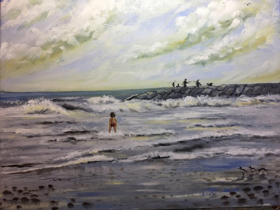 Title Fishing From The Jetties Medium Oil Size 16x20