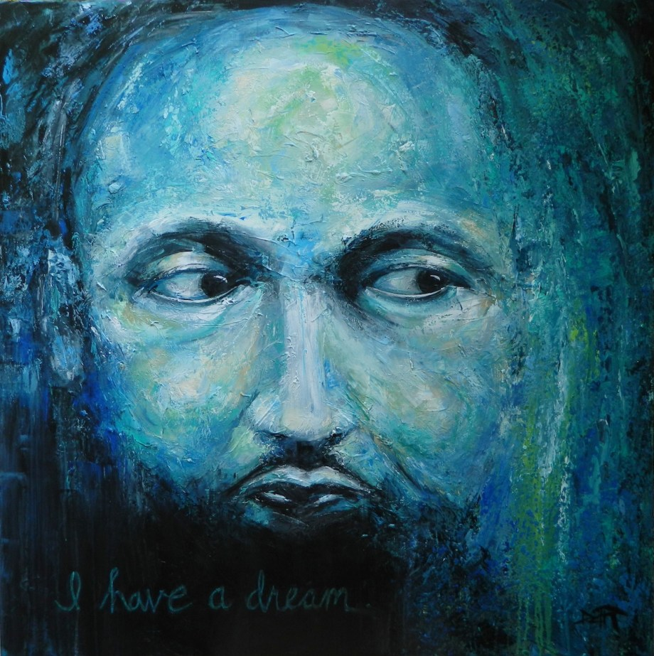 Title Man With A Dream Medium Acrylic Size 48x48