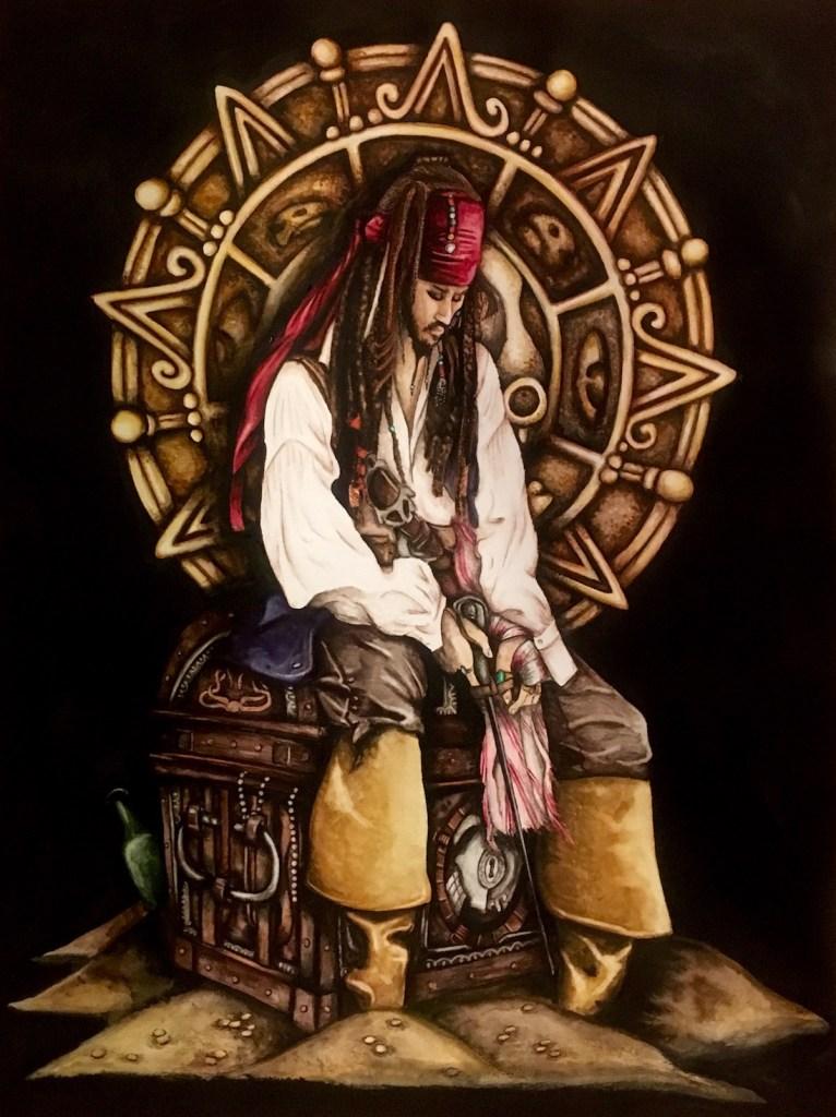 """Title Captain Jack Sparrow Medium Watercolor Size 18""""x24"""""""