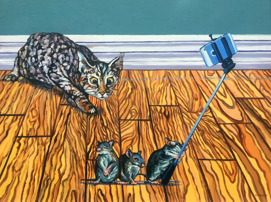 "Title Three Blind Mice Medium Oil on canvas Size 36"" X 48"""