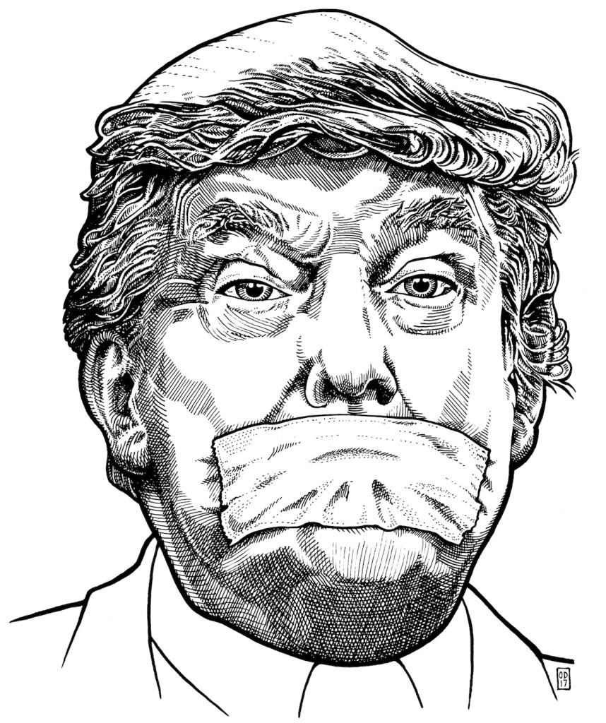 "Title Trump Silenced Medium Ink on Mylar Size 8"" x 10"""
