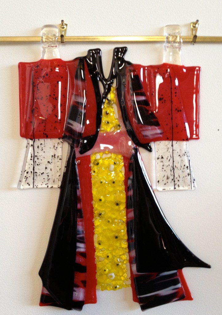 Title kimono Medium fused glass Size 8 by 10