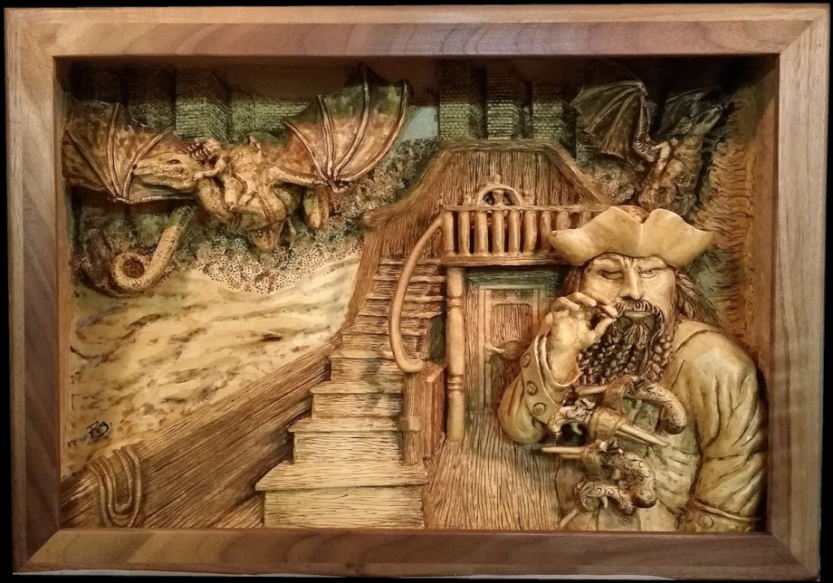 Title Escorted Out Medium wood Size 21x14.5x4