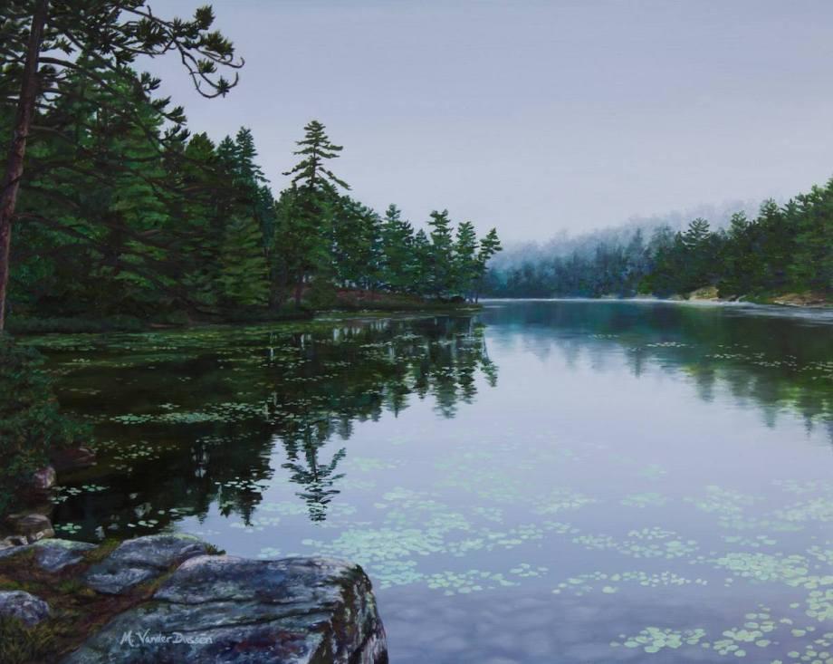 "Title Opalescent Lake Medium Oil Size 16""x20"""