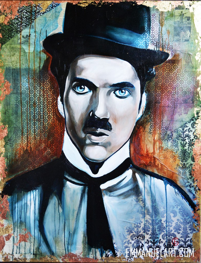 Title CHAPLIN Medium OIL ON DECOUPAGE Size 38 X 48
