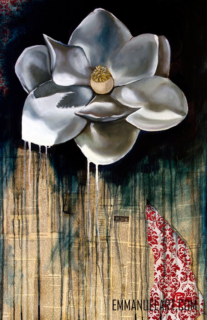 Title MAGNOLIA Medium oil on decoupage Size 24 x 36