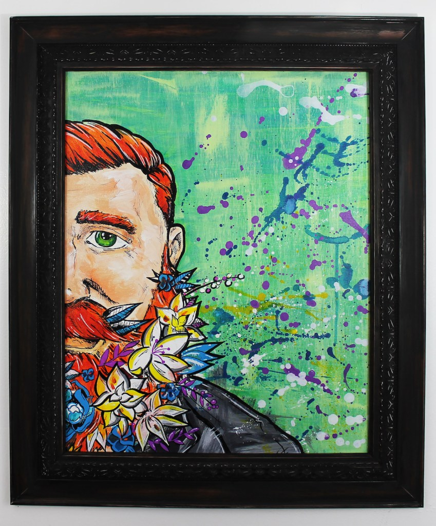 """Title Irish Fields Medium Ink and Paint on Canvas Size 18"""" x 24"""" w/Frame"""