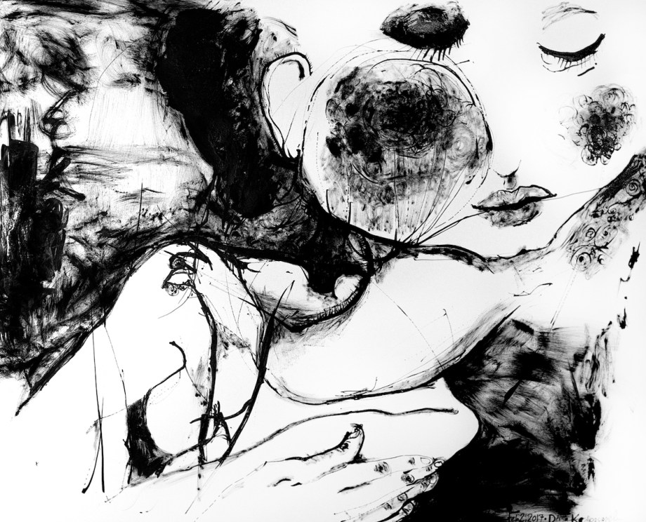Title Blush Medium Sumi ink on paper Size 19in. x 27in.