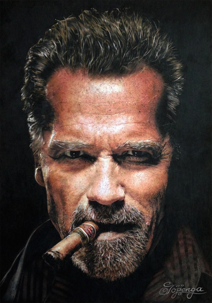 Title Arnold Schwarzenegger Medium Coloured Pencil Size 29,7 x 42 cm