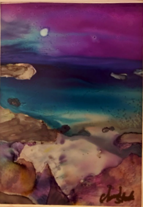 Title Mauve Moonlight Medium Alcohol Ink Size 5 x 7 unframed