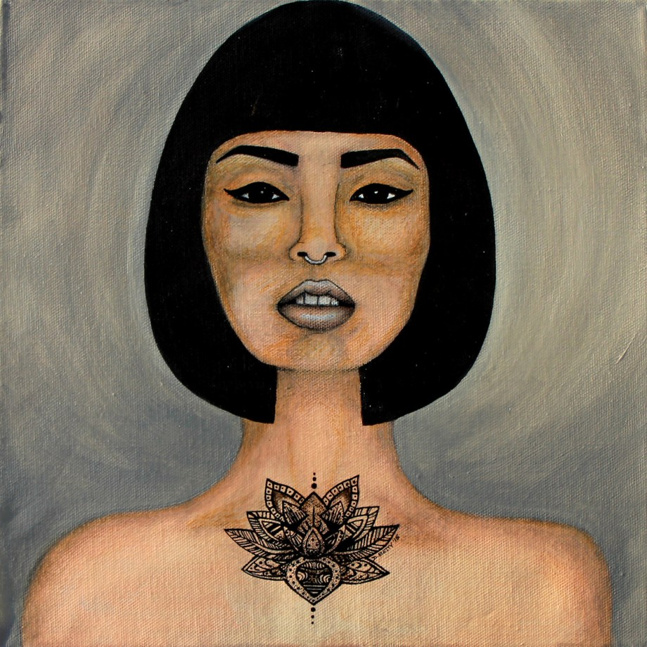 "Title Lotus Medium Acrylic On Canvas Size 12""x12"""