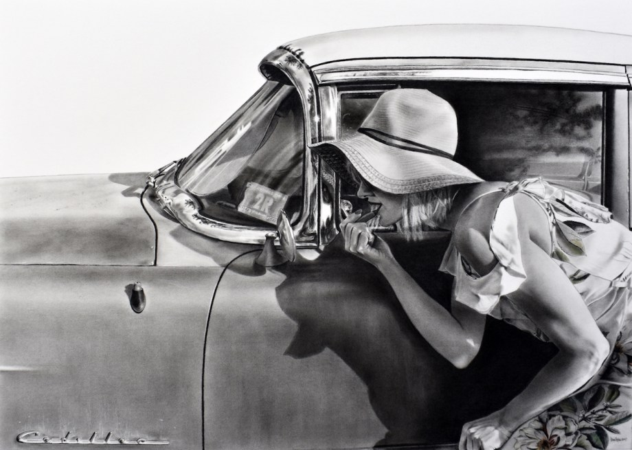 """Title Roadside Service Medium charcoal with pastel Size 25"""" x 35"""""""